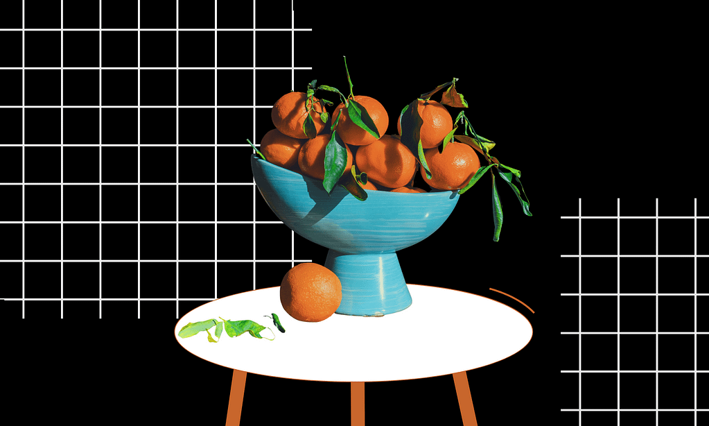 An illustration showing a blue bowl of oranges on a table with white grid pattern on a black background.