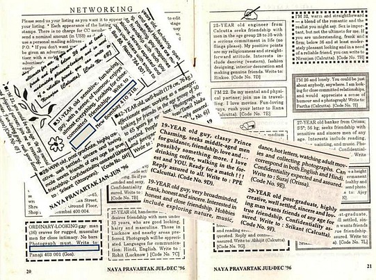 Image shows cut out letters from the Counsel Club's house journal