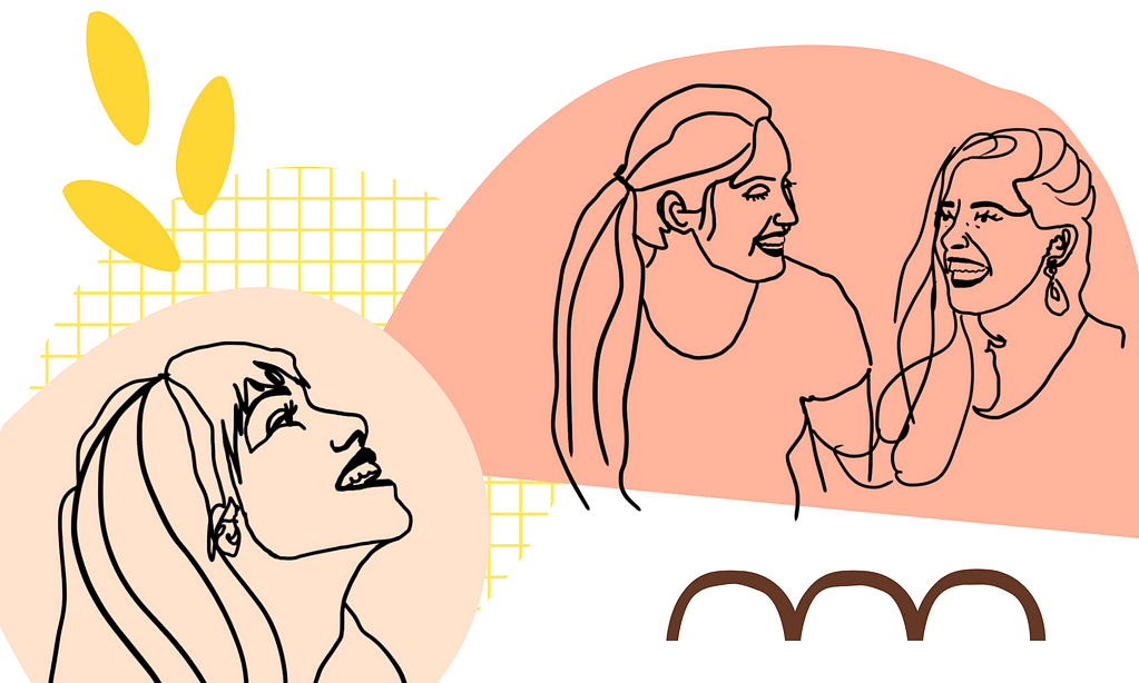 An illustration showing a woman looking up at two friends laughing at eachother.