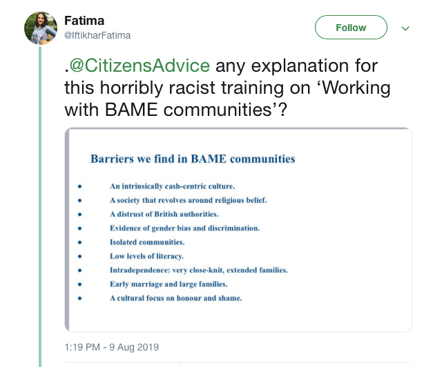 I'm glad I called out Citizens Advice's racist training – but it's just the tip of the charity sector iceberg