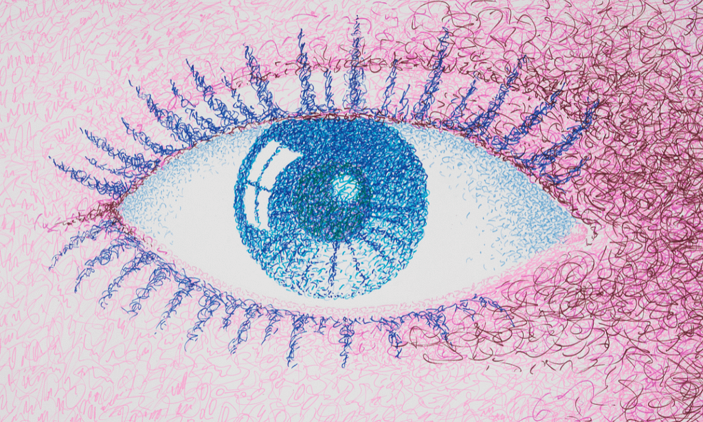 A drawing showing a blue eye with a reflection of a window in the eye itself.