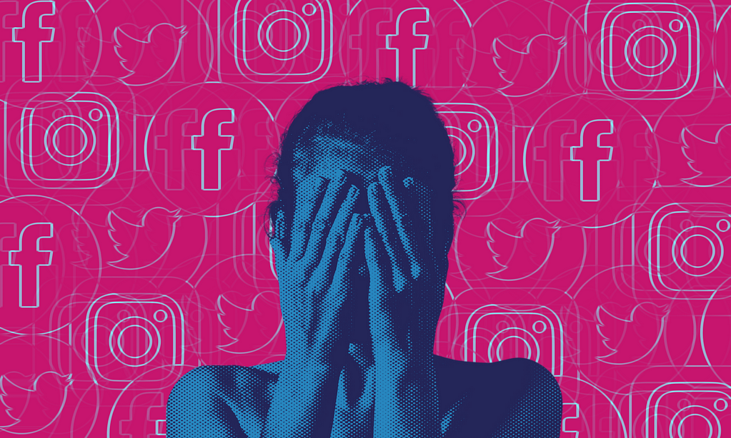 A picture showing a woman with her hands covering her face in front of a black background full of Instagram, Twitter and Facebook symbols stacked on top of one another.