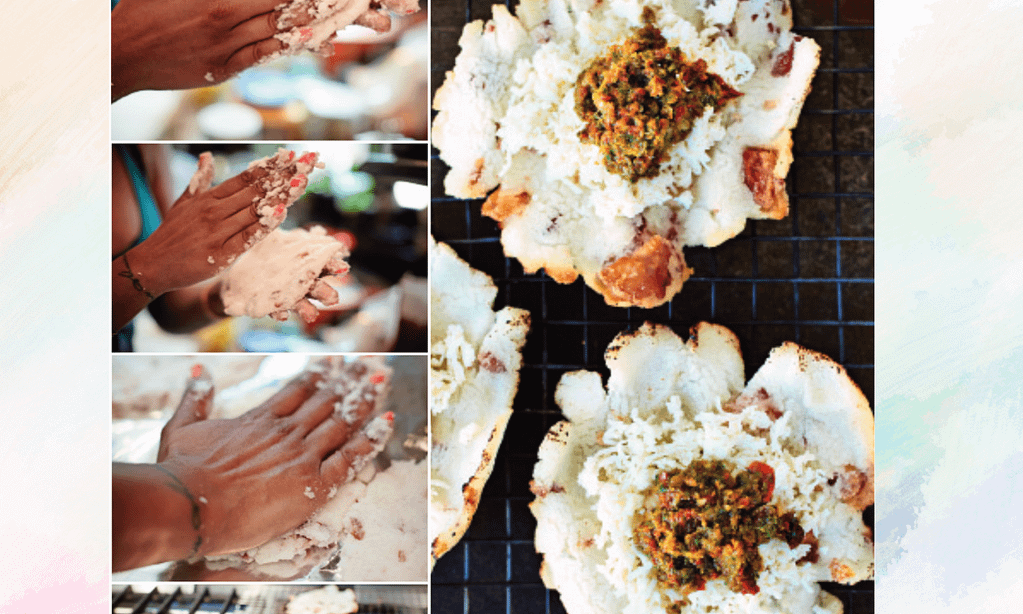 Multiple photos, showing the process of making the arepas on the left, then the finished product on the right.